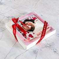 Fotoğraflı Sevgiliye Hediye Yaldızlı Kalp Çikolata (165g) - Thumbnail