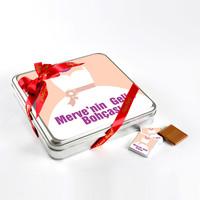 Gelin Bohçası (32 Adet Madlen Çikolata) Metal Kutu (Model-1) - Thumbnail