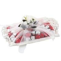 - Gümüş Tepside Kalp Çikolata