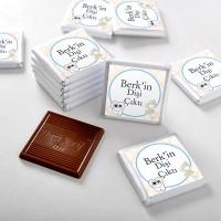 - İlk Diş İsme Özel Erkek Bebek Çikolatası (48 Adet Madlen+Sunum Kutusu)