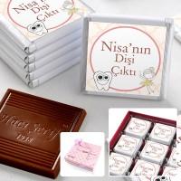 Hacı Şerif - İlk Diş İsme Özel Kız Bebek Çikolatası (32 Adet Madlen+Sunum Kutusu)