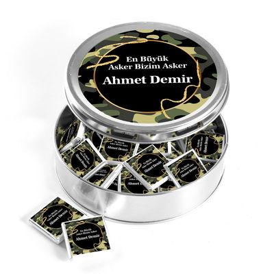 Hacı Şerif - İsme Özel Asker Çikolatası Yuvarlak Metal Kutu (40 Adet Madlen Çikolata)