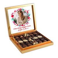 Hacı Şerif - Fotoğraflı 8 Mart Kadınlar Günü Hediyesi Kahve Drajeli Special Çikolata 290g Gold Kutu