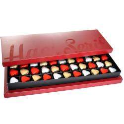 Hacı Şerif - Kalp Çikolata 315g (33 Adet) Bordo Kutu