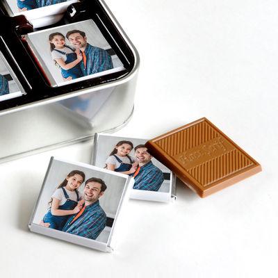 Kendi Fotoğrafınızla Babaya Hediye (32 Adet Madlen Çikolata) Metal Kutu
