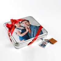 Kendi Fotoğrafınızla Babaya Hediye (32 Adet Madlen Çikolata) Metal Kutu - Thumbnail
