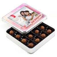 Hacı Şerif - Fotoğraflı Sevgiliye Hediye Tahinli Truffle Çikolata (Metal Kutu)