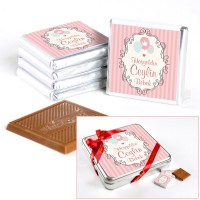 Hacı Şerif - Kız Bebek Doğum Günü Hediyesi (32 Adet Madlen Çikolata) Metal Kutu