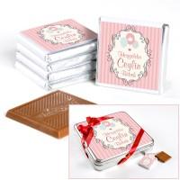 - Kız Bebek Doğum Günü Hediyesi (32 Adet Madlen Çikolata) Metal Kutu
