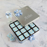 Hacı Şerif - Mavi Bebek Çikolatası (Kare Metal Kutu) 48 Madlen+Kolonya Hediyeli