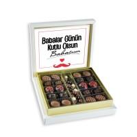 - Mesajlı Babalar Günü Hediyesi (Kahve Drajeli Special Çikolata 290g) Krem Kutu