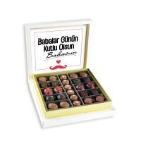Hacı Şerif - Mesajlı Babalar Günü Hediyesi (Special Çikolata 285g) Krem Kutu