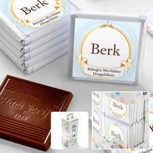 Mevlid İsme Özel Erkek Bebek Çikolatası (70 Adet Madlen)