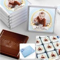 Hacı Şerif - Mevlid Fotoğraflı Erkek Bebek Çikolatası (48 Adet Madlen+Sunum Kutusu)