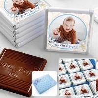 - İlk Diş Fotoğraflı Erkek Bebek Çikolatası (48 Adet Madlen+Sunum Kutusu)