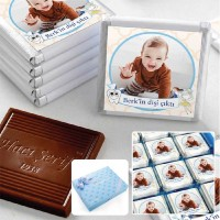 Hacı Şerif - İlk Diş Fotoğraflı Erkek Bebek Çikolatası (48 Adet Madlen+Sunum Kutusu)
