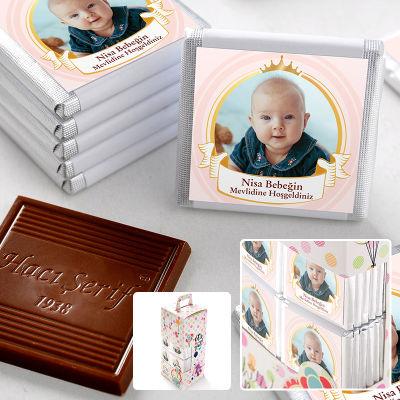 Mevlid Fotoğraflı Kız Bebek Çikolatası (70 Adet Madlen)
