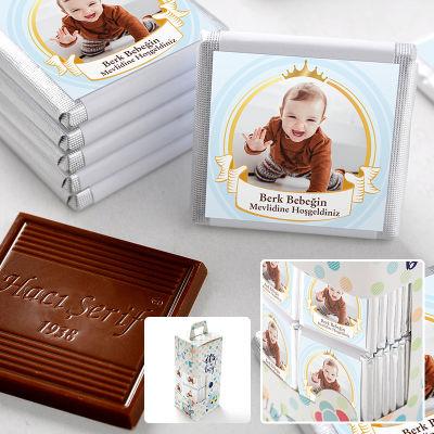 Mevlid Fotoğraflı Erkek Bebek Çikolatası (70 Adet Madlen Çikolata)