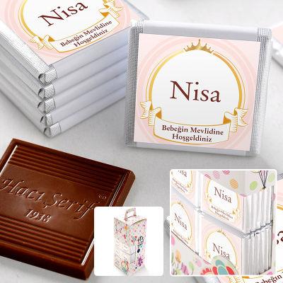 Mevlid İsme Özel Kız Bebek Çikolatası (70 Adet Madlen)