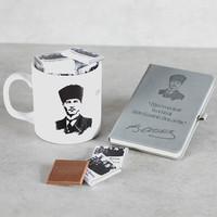 Hacı Şerif - Öğretmenler Günü Hediyesi Atatürk Kupa İçinde Madlen Çikolata + Ajanda