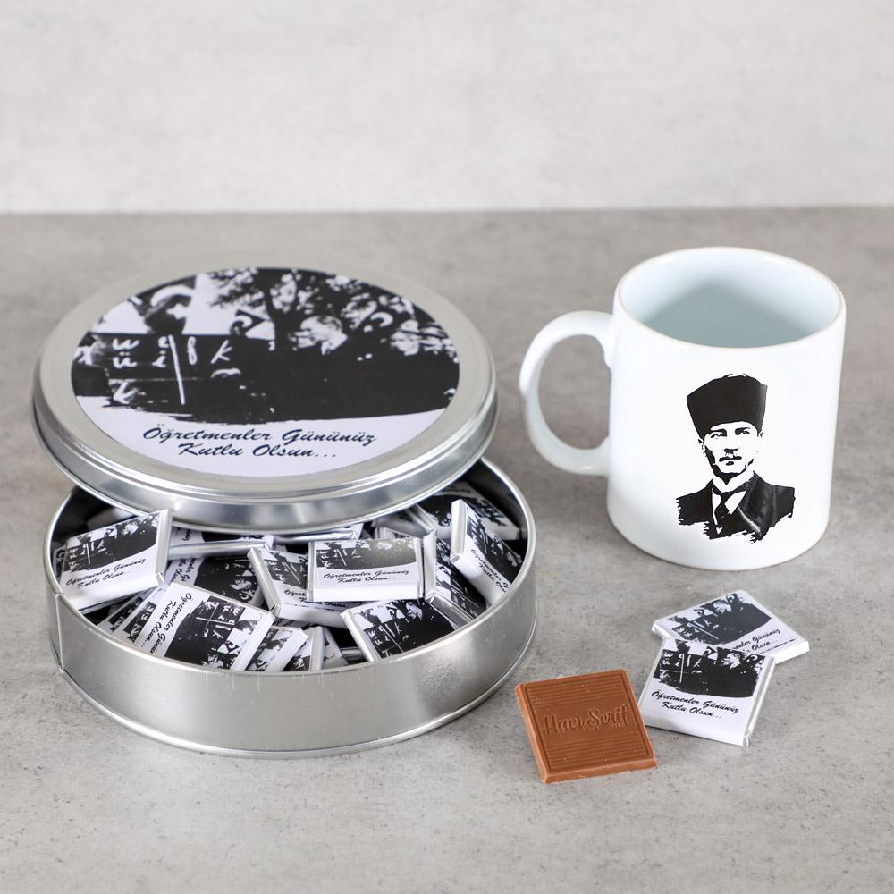 Hacı Şerif - Öğretmenler Günü Hediyesi 40 Madlen Çikolata + Atatürk Kupa (Metal Kutu)