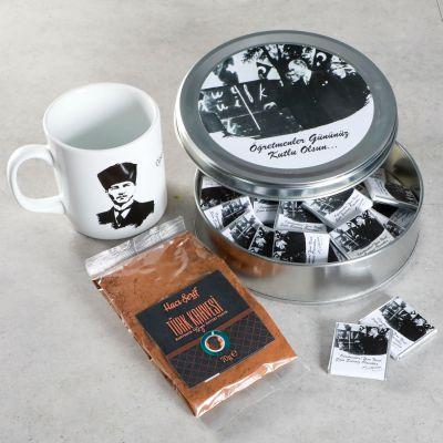 Hacı Şerif - Öğretmenler Günü Hediyesi (Yuvarlak Metal Kutu) Kupa+Kahve