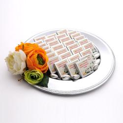 - Sarı Çiçekli Metal Suplada Söz-Nişan Çikolatası (60 Madlen-30 Kutu)