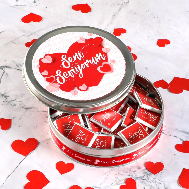 Hacı Şerif - Sevgililer Günü Hediyesi (Yuvarlak Metal) 33 Adet Madlen Çikolata Model:1