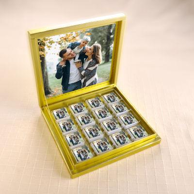 Kendi Fotoğrafınızla Sevgiliye Hediye (32 Adet Madlen Çikolata) Gold Kutu