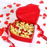 Hacı Şerif - Sevgiliye Hediye Mini Kalp Çikolata+Draje (Kalp Kutu)