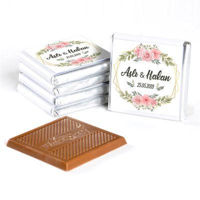 İsimli Söz Nişan Çikolatası (72 Adet Madlen Çikolata) Gold Kutu