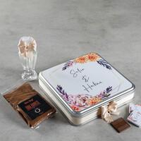 Söz - Nişan - Nikah Çikolatası 48 Madlen+Kolonya+Kahve (Metal Kutu) - Thumbnail