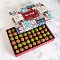 Hacı Şerif - Tahinli - Antep Fıstıklı Truffle Çikolata (Motif Desenli Kutu)
