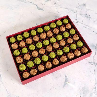 Tahinli - Antep Fıstıklı Truffle Çikolata (Motif Desenli Kutu)