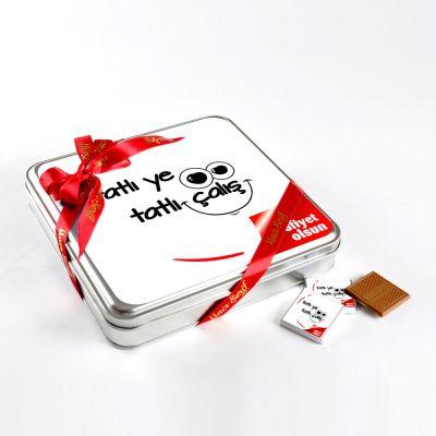 Tatlı Ye Tatlı Çalış(32 Adet Madlen Çikolata) Metal Kutu