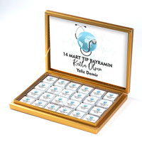 Hacı Şerif - Tıp Bayramı Hediye 48 Adet Madlen Çikolata Gold Kutu
