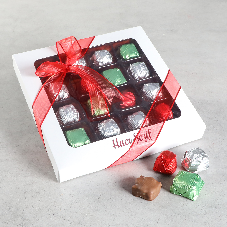 Hacı Şerif - Yılbaşı Hediyesi Yaldızlı Kristal ve Antep Fıstıklı Krokan Çikolata